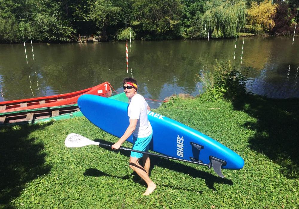 Stand up paddle boarding on the Ljubljana river
